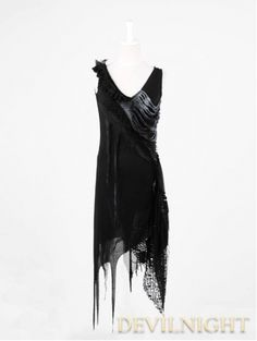 Black Sleeveless Gothic Punk Dress. Perfect for Halloween as a costume piece, or just as is