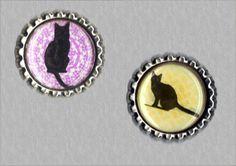 -f040- Kronkorken Magnet Set BLACK CATS, bottlecaps von Mondcatze´s Zauberwerkstatt auf DaWanda.com