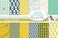Organic Geometry Digital Papers Graphics Crafted in warm mustard yellow, deep navy blue and jade green, these digital printable papers have a by Blixa 6 Studios Digital Scrapbook Paper, Scrapbook Paper Crafts, Printable Wrapping Paper, Geometry Pattern, Triangle Pattern, Wave Pattern, Graphic Patterns, Dot Patterns, Graphic Design