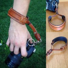 Newly made camera wrist strap, first time I have sewn on a sheepskin backing and it makes the wrist cuff a lot more comfortable. Also, I added a rubber O-ring so you can cinch it tightly if you want to let the camera hang. Leather Art, Sewing Leather, Leather Pattern, Leather Design, Leather Tooling, Leather Jewelry, Leather Wallet, Camera Wrist Strap, Leather Camera Strap