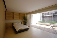 vertically louvered bamboo screen, Japanese landscape, frosted glass façade,
