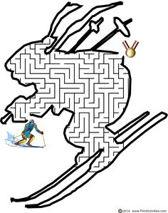 This downhill skier shaped maze is a great activity page to print for kids who love skiing, even in the Olympics. Olympic Idea, Olympic Games, School Humor, School Fun, Mazes For Kids Printable, Maze Worksheet, Summer Art Projects, Girl Scout Activities, Winter Olympics