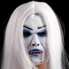 Billig Halloween silikon blodig maske med hvitt hår party masks