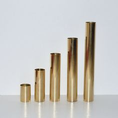 Modernist Brass Cylindrical  Candle Holders Set by DesignSoldier, $75.00