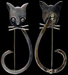 Delfino Mexican Silver Modernist Cat Pin