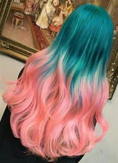 Green coral ombre dyed hair color @inspirehairstyles
