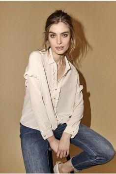 Ecru 'Raffey' 100% silkebluse med volangstolpe Mos Mosh - 123410 raffey silk shirt Brave, Silk, Blouse, Long Sleeve, Sleeves, Shirts, Tops, Women, Fashion