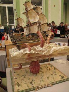 Mosonmagyarvar Model Show - Kraken ship model with giant squid or octopus.