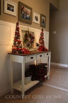 decorating console table for christmas
