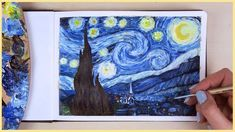 In today's Art Journal Thursday episode I will show you how to paint the starry night by Vincent van Gogh with acrylic paint step by step! Canvas Painting Tutorials, Acrylic Painting For Beginners, Acrylic Painting Tutorials, Step By Step Painting, Beginner Painting, Acrylic Painting Canvas, Painting Art, Acrylic Art, Painting Furniture