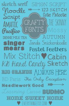 25 Crafty Fonts {free} - Fonts - Ideas of Fonts - 25 Crafty Fonts {free}the perfect fonts for your next craft project! Funky Fonts, Cool Fonts, Police Font, Computer Font, Autocad, Typography Fonts, Typography Design, Cursive Fonts, Penmanship