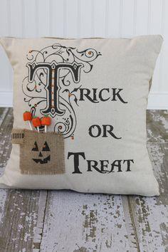 Items similar to Original Petite Trick or Treat Burlap Pillows on Etsy