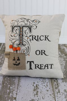 Trick or Treat Halloween Pillow Cover by MonMellDesigns on Etsy, $46.00