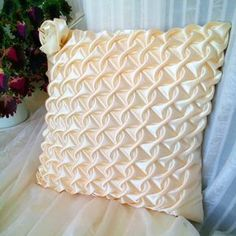 Satin Smocked Pillow Yellow Cushion Cover Yellow Pillowcase, Satin Cushion, Yellow Throw Pillow, Gift For Mom Yellow Throw Pillows, Yellow Cushions, Gold Pillows, Velvet Cushions, White Pillows, Yellow Cushion Covers, Bed Cover Design, Canadian Smocking, Smocking Patterns