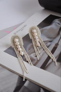 Statement Earrings,Mismatched earrings,Beaded earrings by BijouByOlena Indian Jewelry Earrings, Big Earrings, How To Make Earrings, Pearl Jewelry, Beaded Earrings, Statement Earrings, Earrings Handmade, Beaded Jewelry, Handmade Jewelry
