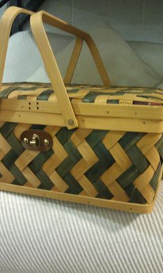 #Goodwill chevron picnic basket - Easy to convert a plain one to this!