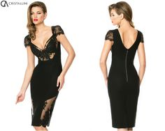 """Look and feel sophisticated in this elegant CRISTALLINI """"Little black dress"""", a dazzling choice for any celebratory event! Order SKA 177 cocktail dress on our online website, the shipping is very fast and it's free worldwide: http://shop.cristallini.com/cristallini-ska177  #cristallini #dresses #cocktail #evening #couture #highfashion #hautecouture #romaniandesigner #luxury #dresses #beauty #littleblackdress #embroidery #lace #redcarpet #hollywood #celebrities #stylish"""