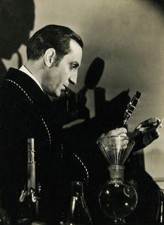 Basil Rathbone in publicity still for The Hound of the Baskervilles (1939, dir. Sidney Lanfield)