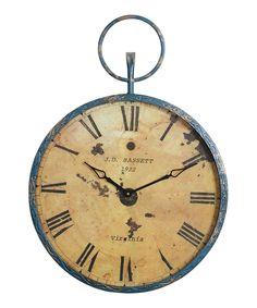 Blue & Gold Pocket Watch Wall Clock