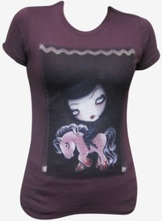 Junior's Horse Power Goth Girl Riding Pink Pony by Candy Cane Gothic Tattoo Design T Shirt Plum $34.95