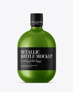 Metallic Bottle With Paper Label Mockup