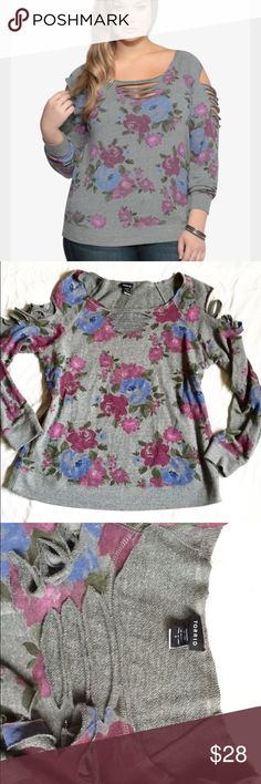 Torrid floral distressed sweater Super cute and cozy floral distressed sweater. Distressing on arms and chest. torrid Sweaters