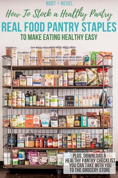 How to Store a Healthy Pantry: A Checklist for Pantry Staples Learn how to stock a healthy pantry to make eating healthy easy! Here's a peek of my real food pantry staples, complete with a healthy pantry checklist you can take with you to the grocery stor Tips And Tricks, Clean Eating Snacks, Eating Healthy, Healthy Nutrition, Healthy Cooking, Cooking Tips, Cooking Pasta, Nutrition Store, Cooking Pork