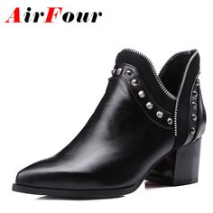 36.44$  Buy here - http://alij5s.shopchina.info/go.php?t=32731421707 - Airfour Rivets Slip-On Large Size 34-43 Autumn/Winter Boots Pointed Toe Shoes Woman Sexy Ankle Boots for Women Black Yellow Gray  #buyininternet