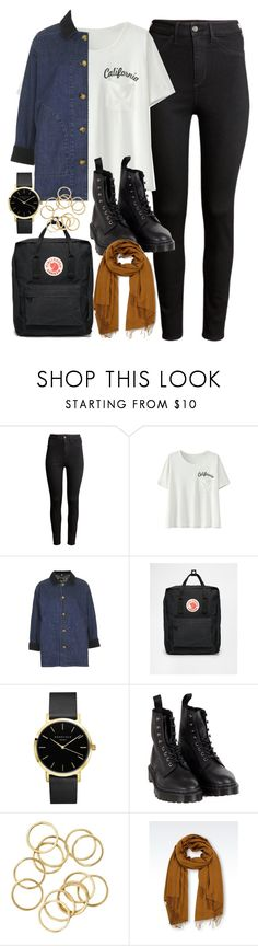 """Outfit of the day"" by ferned ❤ liked on Polyvore featuring H&M, Topshop, Fjällräven, Dr. Martens and Emporio Armani"