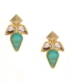 Loving this Gold & Turquoise Foil Stone Collage Drop Earrings on #zulily! #zulilyfinds