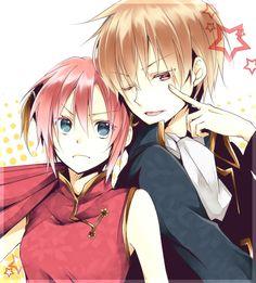 Kagura Yato and Okita Sougo - Gintama Anime Manga, Anime Guys, Anime Art, Hot Anime, Kawaii Girl, Kawaii Anime, Cute Chibi Couple, Comedy Anime, Okikagu
