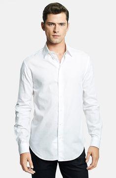 Men's Armani Collezioni Modern Fit Geometric Textured Sport Shirt