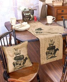 Add primitive accents to your dining room with these Farmhouse Style Kitchen Linens Life Burlap Home Coordinates. Each piece features a stack of a cow, pig, Primitive Kitchen, Country Primitive, Farmhouse Style Kitchen, Farmhouse Decor, Country Kitchens, Cottage Kitchens, Farmhouse Ideas, Kitchen Linens, Kitchen Decor