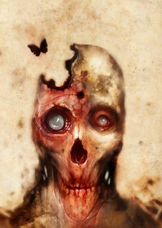 ✯ Zombie and butterfly by Axel Torvenius✯ Zombie Art, Creepy Pictures, Dark And Twisted, Sombre, Vintage Horror, Post Apocalypse, Horror Art, Macabre, Dark Art