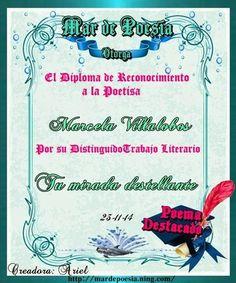 Poema TU MIRADA DESTELLANTE de Marcela Villalobos B, reconocimiento en Mar de Poesía.