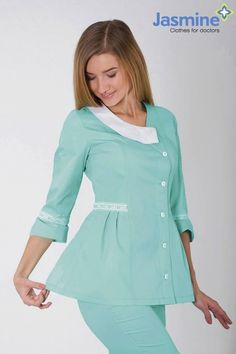 "Костюм медицинский женский ""Миледи"" (ментол) Blouse Nylon, Nylons, Nurse Life, Work Attire, Scrubs, Dresses For Work, Tunic Tops, Sewing, Models"