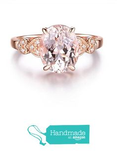 Oval Morganite Engagement Ring Pave Diamond 14K Rose Gold 8x10mm from the Lord of Gem Rings https://www.amazon.com/dp/B01KNF73GK/ref=hnd_sw_r_pi_dp_ZkqVxbPY2MP5V #handmadeatamazon