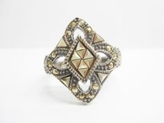 Genuine Sterling Silver Marcasite Accent Ring Sz 8.75 #2472