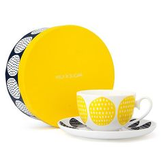 Milk & Sugar - Harley Yellow and Navy Teacup & Saucer Set | Peter's of Kensington