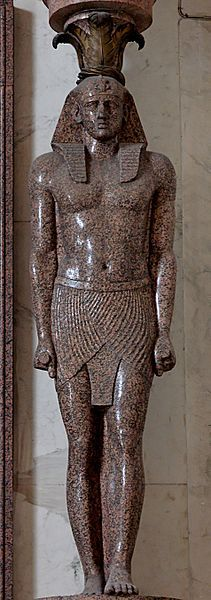 Telamon (sculpted support in the form of a man) representing Antinous, Hadrian's lover, as a pharaoh. Antinous died while in Egypt with Hadrian and was much mourned by the emperor, who had him immortalized in numerous statues. Statue from Hadrian's Villa.