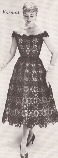 Crochet Vintage Crochet 1950 S Lace Formal Evening Dress Pattern