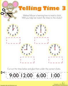 Worksheets: Telling Time with Melissa Mouse 3