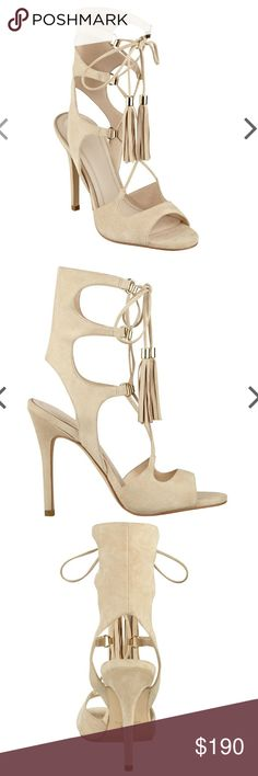 NWOT Marc Fisher Leather Gladiator Heels 9 New without box. Sexy Larsa Lace-up details bring a bold look to this sandal favorite. Designed with subtle polished metal details and fringe tassel accents. Heel Height: 4.33? Shaft Height: 5.7? Cream, Ivory, Nude Marc Fisher Shoes Heels