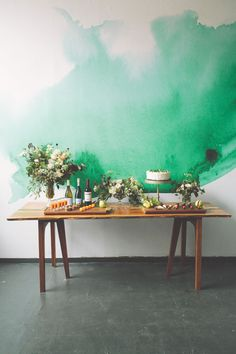 Green Watercolor Mural - photography by The Nickersons