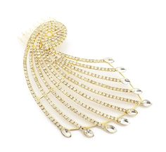 Large Gold Tone Art Deco Peacock Design Hair Comb Slide with Crystals Diamante