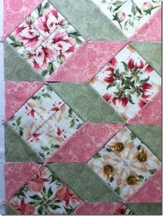 'Stacked Posies' a tumbling blocks pattern with fussy cut florals and 2 tone on tone shades Quilting Tips, Quilting Tutorials, Quilting Projects, Quilting Designs, Quilt Block Patterns, Pattern Blocks, Quilt Blocks, Scrappy Quilts, Easy Quilts