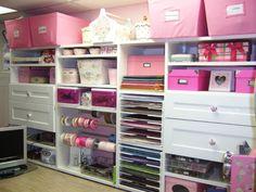 When designed and organized properly, <b>craft</b> room closet organizers can . Scrapbook Storage, Scrapbook Organization, Craft Organization, Closet Organization, Closet Storage, Scrapbook Rooms, Scrapbook Paper, Wardrobe Storage, Scrapbook Supplies