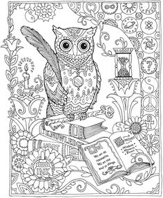 Creative Haven Owls Coloring Book-Dover Publications Sample