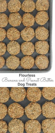Super quick and easy, using only five ingredients these gluten free, flourless banana and peanut butter dog treats will make their tail wag for sure.