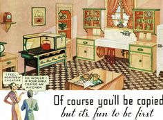 This appeared on the back page of a 1934 Country Gentleman. 1920s Kitchen, Victorian Kitchen, Old Kitchen, Vintage Kitchen, Green Kitchen, Kitchen Cupboards, Kitchen Ideas, Old Fashioned House, Old Fashioned Kitchen